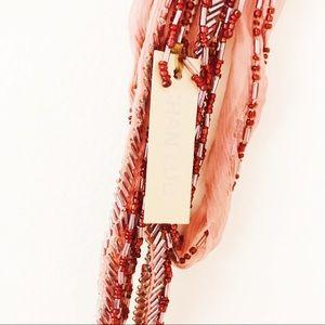 Anthropologie Accessories - Chan Luu Dusty Pink Beaded Skinny Scarf NWT